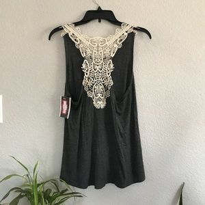 c5b1b7d05 Tops - SOLD ON DEPOP Grey and Ivory Lace Tank Top